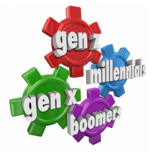 41726043 - generation x y z, millennials and boomers words in 3d letters on gears to illustrate different age demographics and customer markets